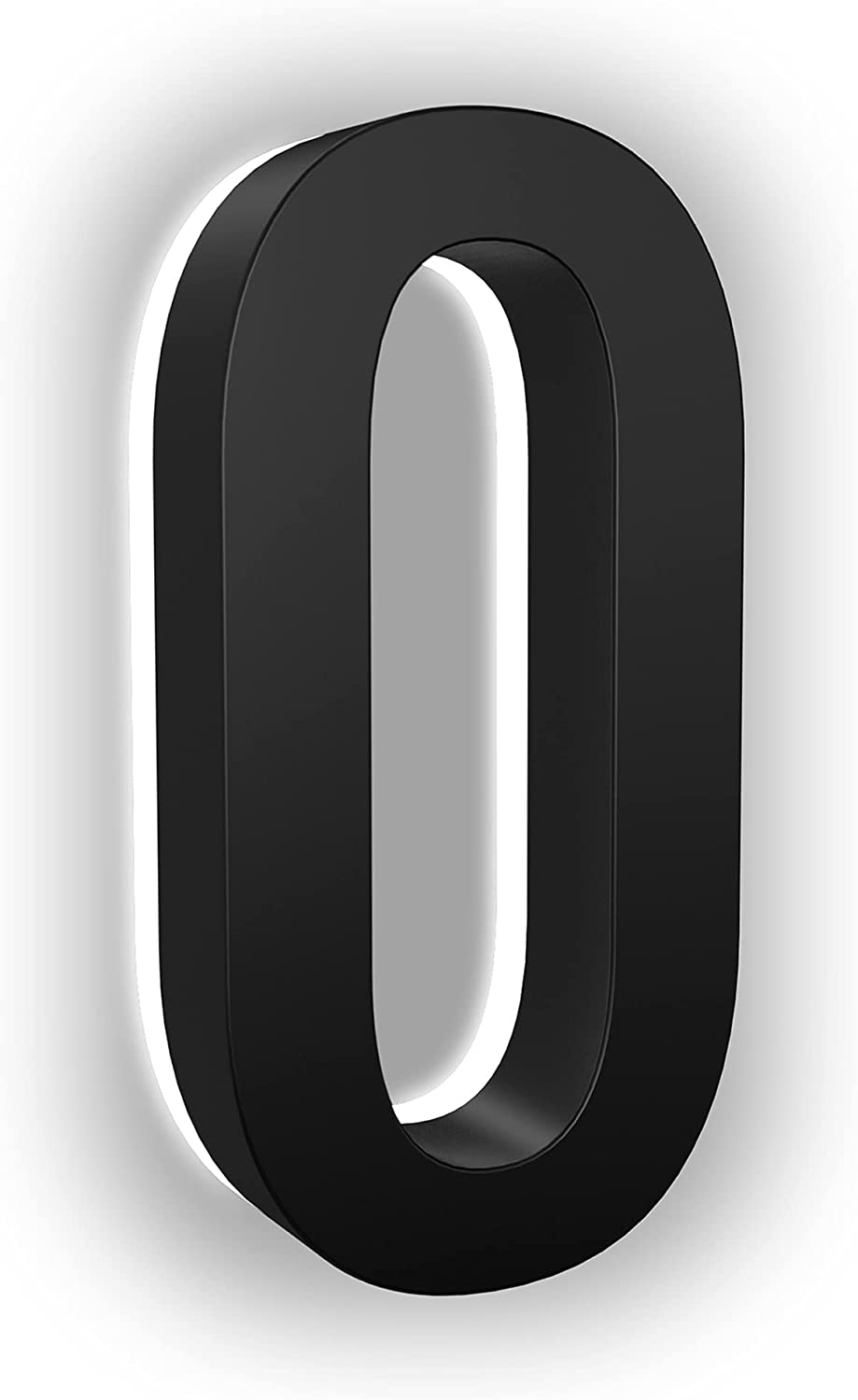LN LUMANUMBERS 7 Inches Steel Backlit LED Floating Address Number, Up-Scale Modern Look, Lighted House Numbers, 0, Black, Illuminated Address Numbers