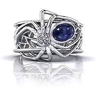 Jaywine2 Fashion Women Spider 925 Silver Ring 1.68 Ct Blue Sapphire Wedding Ring Sz6-10 (6)