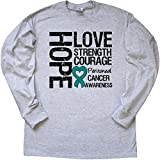 Inktastic Peritoneal Cancer Hope Love Strength Long Sleeve T-Shirt by HDD Large Ash Grey