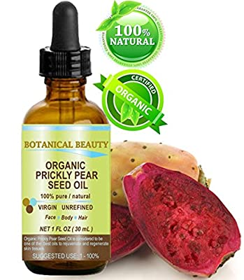 "PRICKLY PEAR CACTUS SEED OIL ORGANIC. 100% Pure / Natural / Undiluted / Virgin / Unrefined Cold Pressed Carrier oil. 1 Fl.oz.- 30 ml. For Skin, Hair, Lip and Nail Care. ""One of the richest in magnesium, amino acids, vitamins C, E, K and B, beta carotene,"