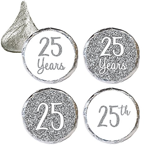 Silver 25th Anniversary Party Favor Stickers, 324 Count ()
