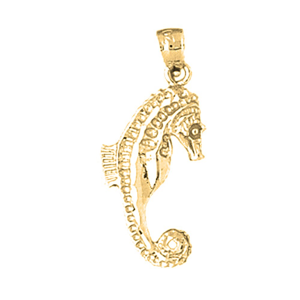 Jewels Obsession Seahorse 3D Necklace 14K Yellow Gold-plated 925 Silver Seahorse 3D Pendant with 18 Necklace