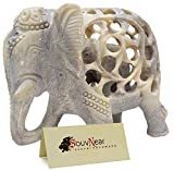 SouvNear Impossible Stone Art - 5 Inch Handmade Soapstone Collectible Figurine Sculpture of Mother Elephant with Baby Inside - Unique Baby Shower Decorations Elephant Decor Statue from India