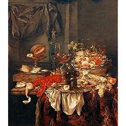 kunst für alle Art Print/Poster: Abraham Hendricksz Van Beyeren Luxurious Still Life Picture, Fine Art Poster, 30x33 inch