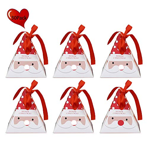 (Alapaste Gift Boxes Set of 30 Decorative Candy Boxes,Cookies, Goodies Christmas Candy Bags Santa Claus Reindeer Xmas Tree Gift Box Present Packaging for Festival Holiday New Year)
