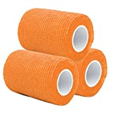 PPDD Self Adherent Bandages Cohesive Wrap First Aid Tape Band Elastic Non-woven for Finger Elbow Knee Toe Wrist Ankle Athletic Sports Pet Supply 3 Inch X 5 Yards 3 Count (Orange)