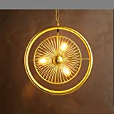 Retro Iron pendant light, American village LED triple head ceiling light creative iron bedroom living room fan pendant lamp Industrial dining room clothing store Cafe Chandeliers, black, gold ( Color : Gold-B )