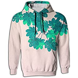 Pullover Hoodies Sweatshirts Green Leaves For Men Athletic Youth Front Pocket