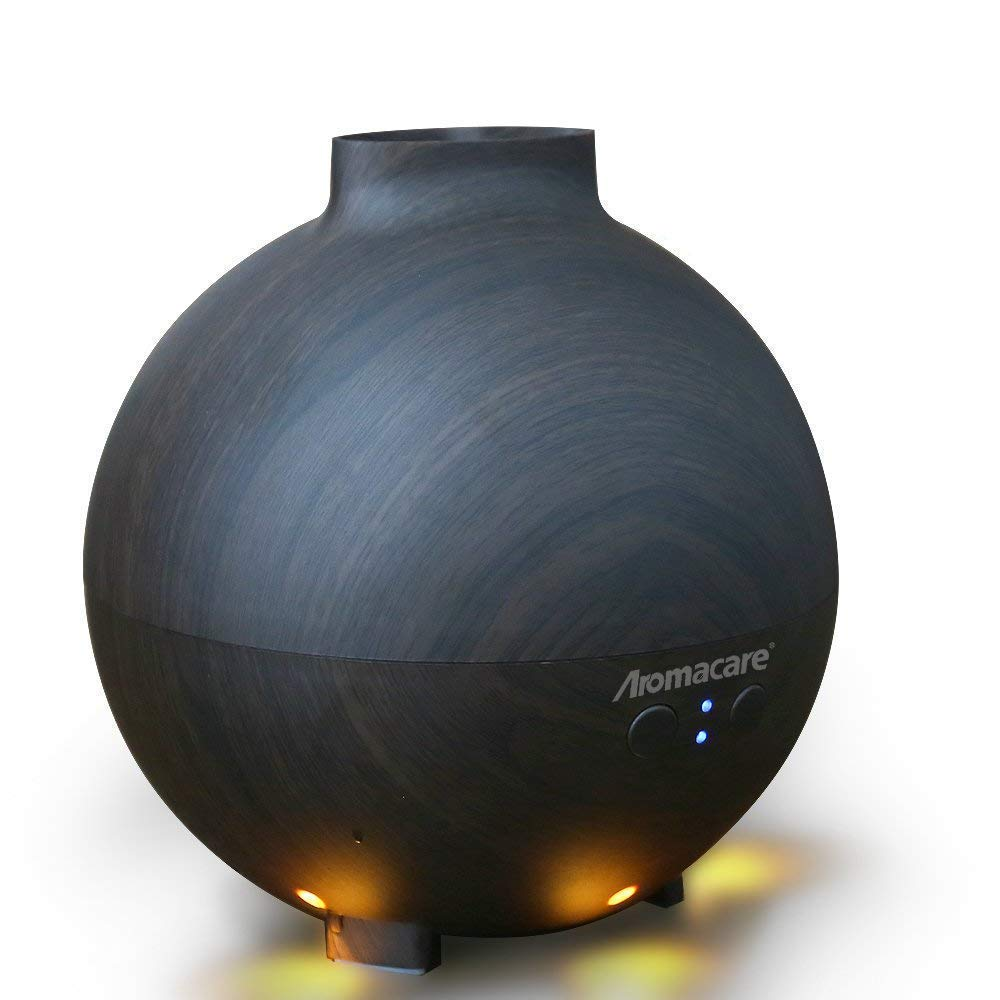 Large Essential Oil Diffuser 600ml for Aromatherapy,Aroma Cool Mist Humidifier Globe with Adjustable Mist Mode - Dark Wood Grain- Filter Free- Last Overnight for Bedroom Office Home Yoga by Aromacare