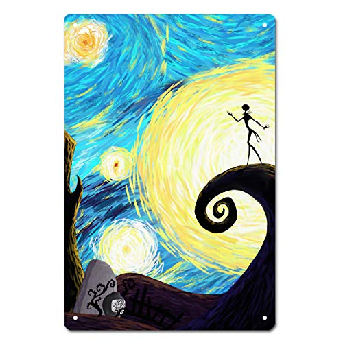 MamaTina Happy Halloween Starry Night Metal Tin Signs for Home Wall Decor Size 12x8 Inches -