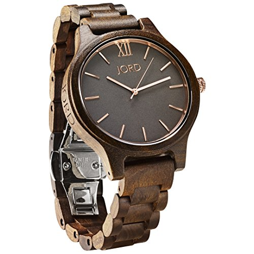 JORD Wooden Wrist Watches for Men or Women - Frankie Minimalist Series / Wood Watch Band / Wood Bezel / Analog Quartz Movement - Includes Wood Watch Box (Dark Sandalwood & Smoke) by Jord