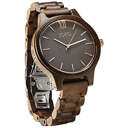 JORD Wooden Wrist Watches for Men or Women - Frankie Minimalist Series / Wood Watch Band / Wood Bezel / Analog Quartz Movement - Includes Wood Watch Box (Dark Sandalwood & (Gray Dial Gold Bezel)