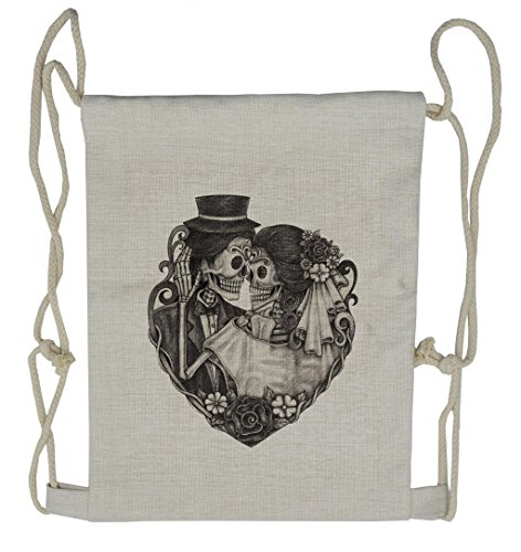Lunarable Tattoo Drawstring Backpack, Day of Dead Couple Bride, Sackpack Bag -