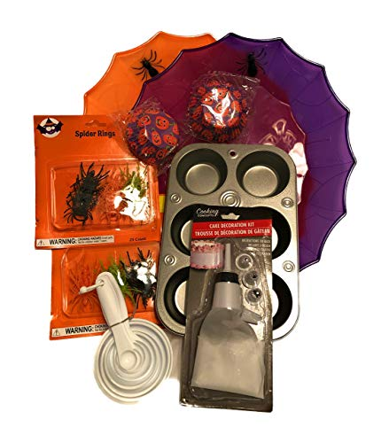 160+ Piece Halloween Cupcake Party Baking and Decorating Set with Bonus Serving Platters