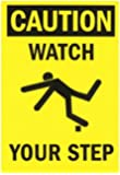 "SmartSign Safety Sign, Legend ""Caution: Watch Your Step"", Black on Yellow"