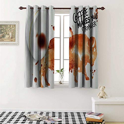 shenglv Coffee Art Waterproof Window Curtain Conceptual Design with Inverted Americano Cup Strong Animal Bull Curtains Living Room W55 x L45 Inch Burnt Sienna Black White