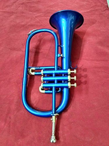 FlugelHorn in Blue Colour Polish 3 Valve Flugel Horn With Free Case & Mouthpiece by SAI MUSICAL
