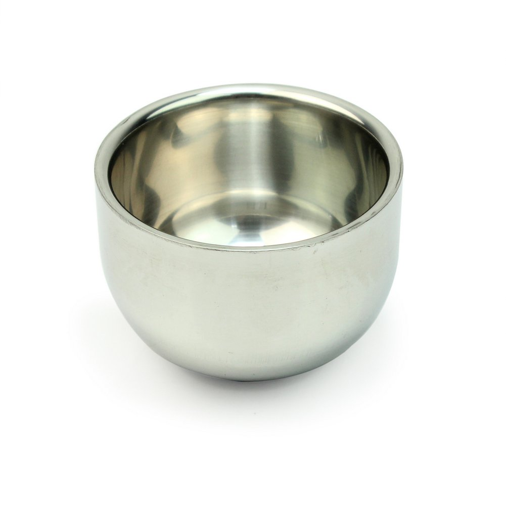 Refaxi® Stylish Shinning Soap Cup Double Layer Stainless Steel Men's Shaving Mug Bowl