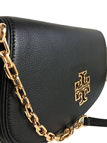 Crossbody Britten Chain Tory Leather Clutch Women's Burch Black 39055 handbag FRqTX