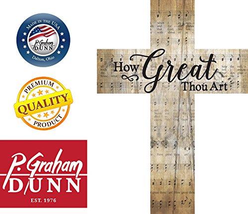 How Great Thou Art Music Sheet Design 12 x 9 Wood Wall Art Cross Plaque by P Graham Dunn (Image #1)