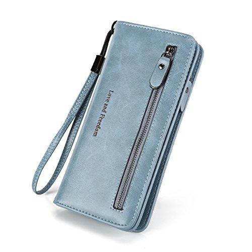 Women RFID Blocking Wallet Leather Zipper Around Clutch Large Capacity Travel Purse Wristlet-Laimi duo (light blue) ()