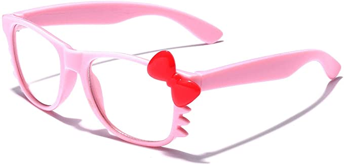 Kids Hello Kitty Bow Tie Baby Toddler Infant Girls Boys Non-Prescription Clear Lens Glasses Age up to 4