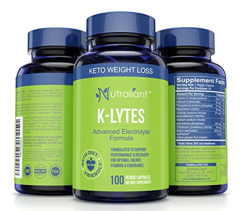 K-LYTES Electrolyte Supplement Rapid Rehydration - Vitamin D, Minerals & BioPerine Pepper For Best Electrolytes Absorption - Stops Cramps, Boosts Energy, Endurance & Recovery - Perfect Keto Diet Pills ()