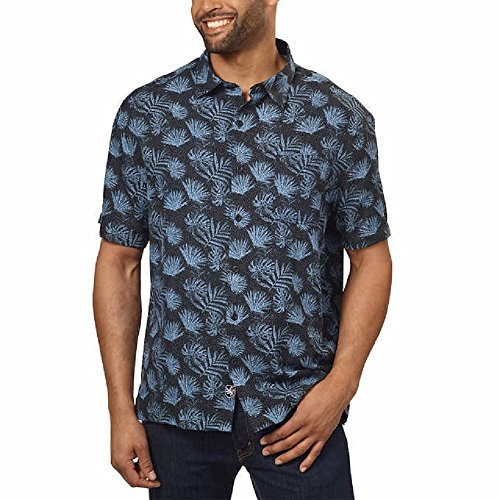 Nat Nast Silk Blend Traditional Fit Print Shirt (XL, Black/Blue Palm (Black)), X-Large