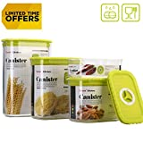 Tartek Airtight Food Storage Containers Set - Stackable Pantry Storage Canisters with Date Tracker - BPA Free - Durable & Clear Plastic with Lid