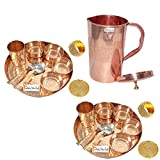 Prisha India Craft Set of 2 Indian Dinnerware Pure Copper Traditional Dinner Set of Thali Plate Dia 12'', Bowl, Spoon, Fork, Glass and JUG - Christmas Gift