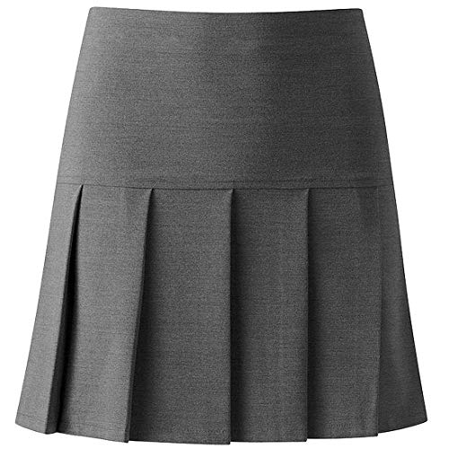 (My Choice Stuff Girls High Waistband School Uniform Skirt Ladies Drop Waist Pleated All Around Skirt Grey US 18)