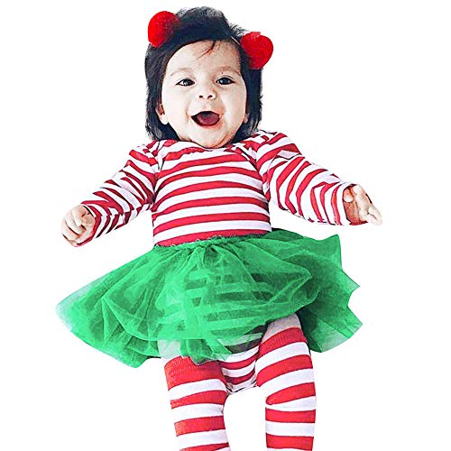 Fheaven Infant Baby Girls Princess Tutu Dress Long Sleeve Striped Print Romper Dress Christmas Outfits Clothes (18-24Months, Red)