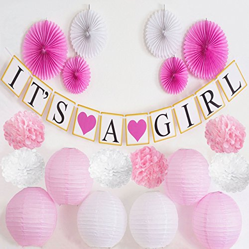 Baby Shower Decorations for Girl | ITS A GIRL Gold Garland Banner | Tissue Paper Pom Poms, Fans, Lanterns | Baby Girl Pink and Gold Baby Shower Decorations