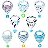 Baby Bandana Bibs Set 8-Pack Super Teething Absorbent Drool Bandana Bibs 100% Organic