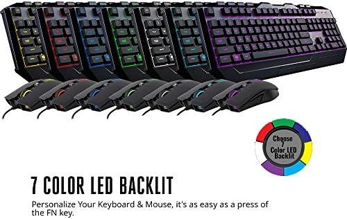 Cooler Master Devastator 3 - Combo de teclado y mouse para juegos, retroiluminación LED de 7 modos de color, teclas multimedia, configuración de 4 DPI 5