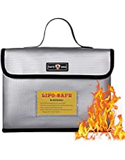 """Large Fireproof Bag, with Bag Label Multifunctional Safety Explosion-Proof Zipper Bag for Lithium Battery,Waterproof and Fireproof Thermal Insulated Document Bag Money Wallet(11""""7""""5.2"""")"""
