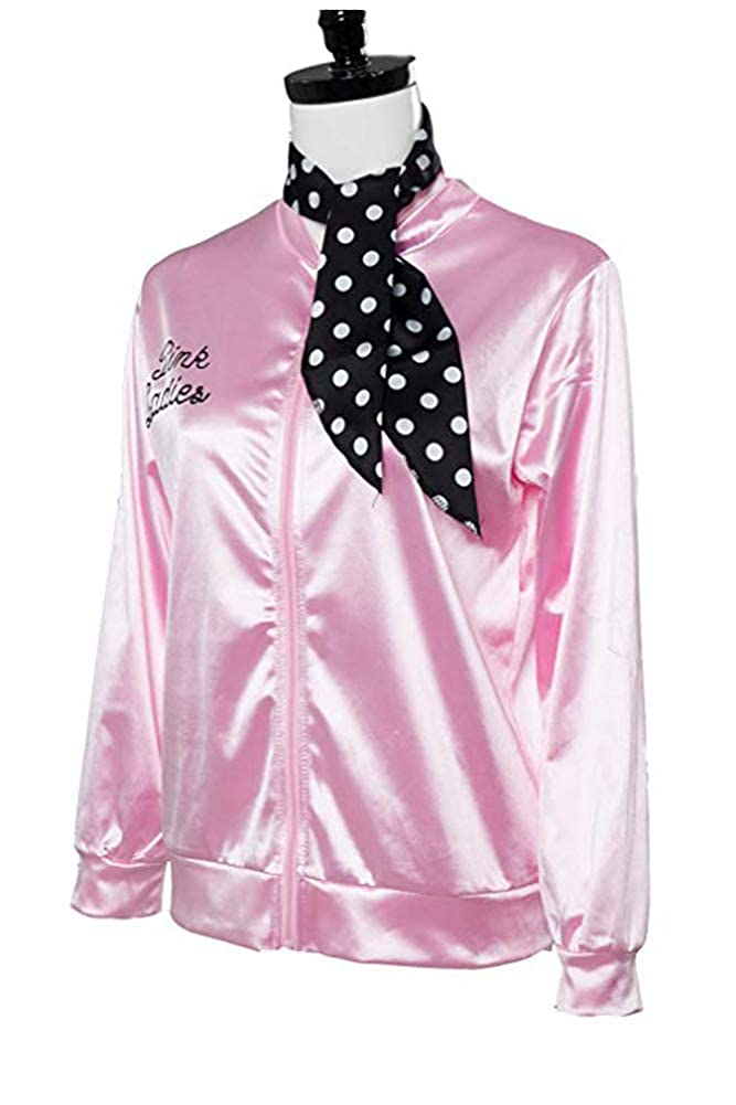 Pink Ladies 1950s Danny Chaqueta de Saten Pink con Panuelo de Lunares Abrigo Rosa para el Carnaval de Halloween