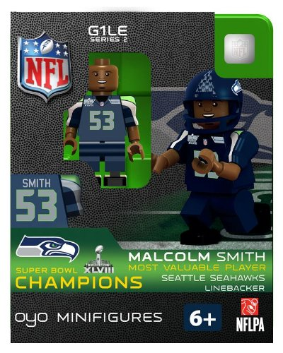 2013 Malcolm Smith Super Bowl XLVIII 48 Champions MVP Oyo Mini Figure Lego Compatible Seattle Seahawks production limitée