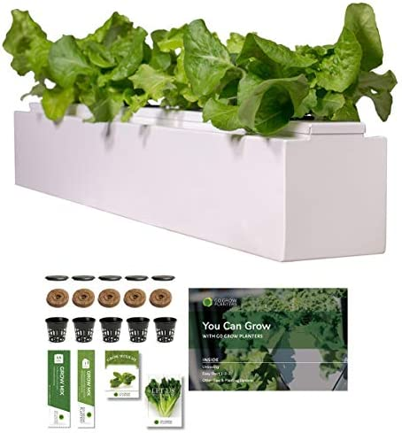 Go Grow Hydroponic Gardening Planter – Indoor Outdoor Gardening for Non-GMO Herbs, Flowers, and Leafy Greens w Grow Kit Hydroponic System Square – 3.5 Gallons, Cool White