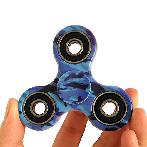 Price comparison product image Fidget Spinner Helps Focusing Camouflage Color Best Stress Reducer Relieves ADHD Anxiety and Boredom (Brilliant blue)