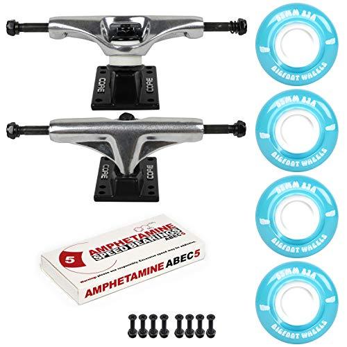 "Skateboard Package 5.25 (8.25"") Silver Trucks 55mm 83A Blue Cruiser Wheels ABEC 5"