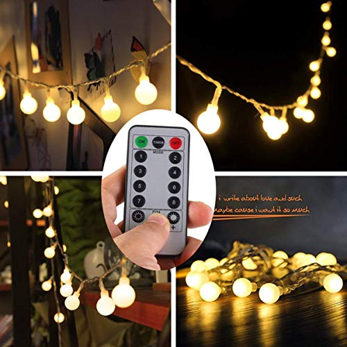 echosari [Remote & Timer] 16 Feet 50 LED Outdoor Globe String Lights 8 Modes Battery Operated Frosted White Ball Fairy Light(dimmable, Ip65 Waterproof, Warm White) (Frosted Lights String)