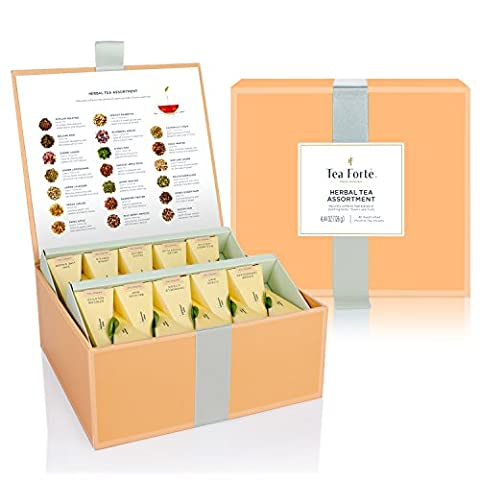Tea Forté Tea Chest Herbal Tea Tasting Assortment with 40 Handcrafted Pyramid Tea Infusers - Chamomile, Chai, Mint and (Yogi Tea Assortment)
