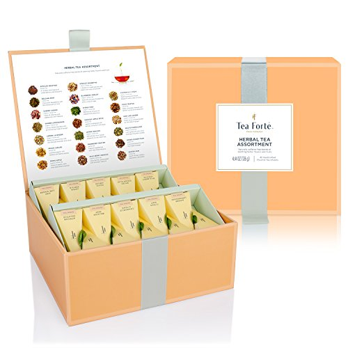 Tea Forté Tea Chest Herbal Tea Assortment with 40 Handcrafted Pyramid Tea Infusers - Chamomile, Chai, Mint and (Crimson Merlot)