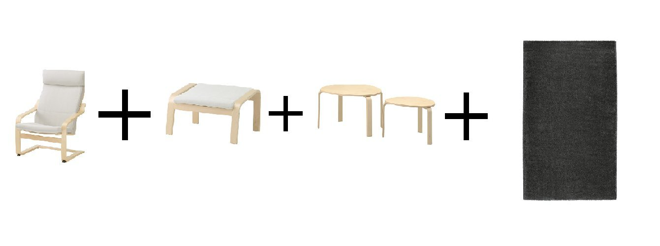 Amazon.com: IKEA Chair, Birch Veneer, Finnsta White, Ottoman ...