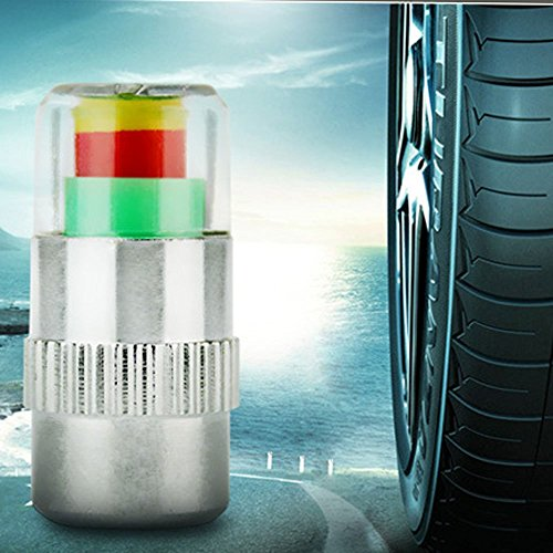 4Pcs Car Auto Tire Air Pressure Valve Stem Caps Sensor Indicator Alert Bike - 1