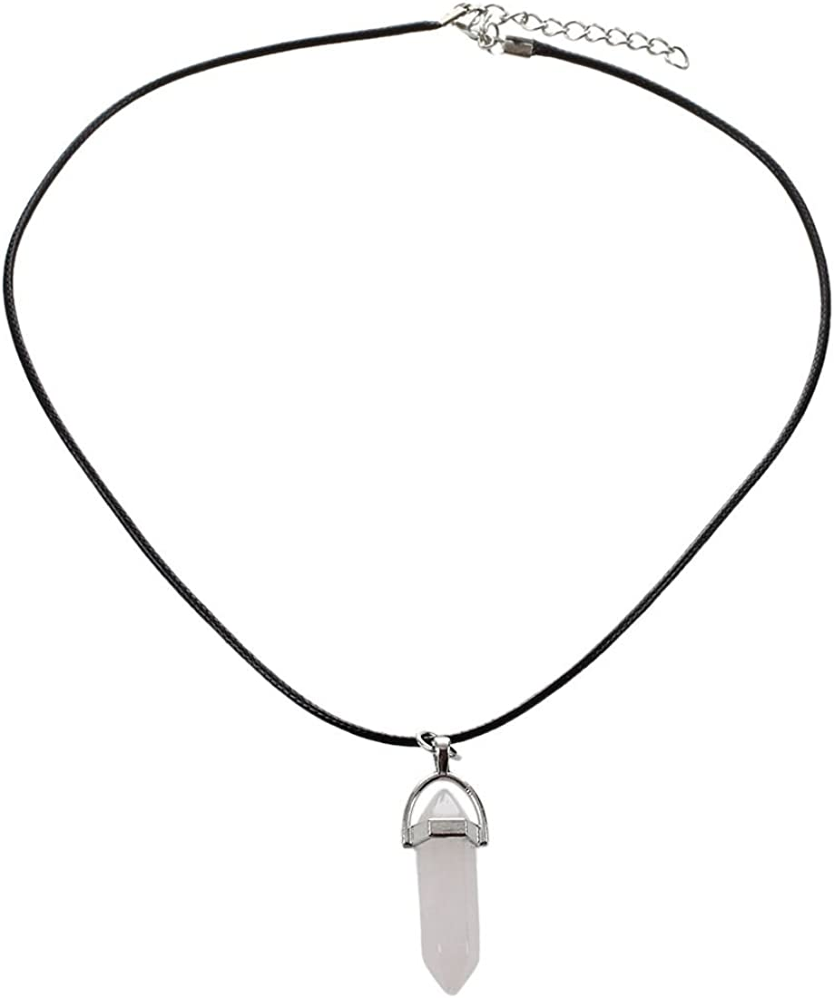 SODIAL(R) Collar colgante de cuarzo de piedras preciosas naturales de curacion de arte clasico con cuerda colgante collar rosado