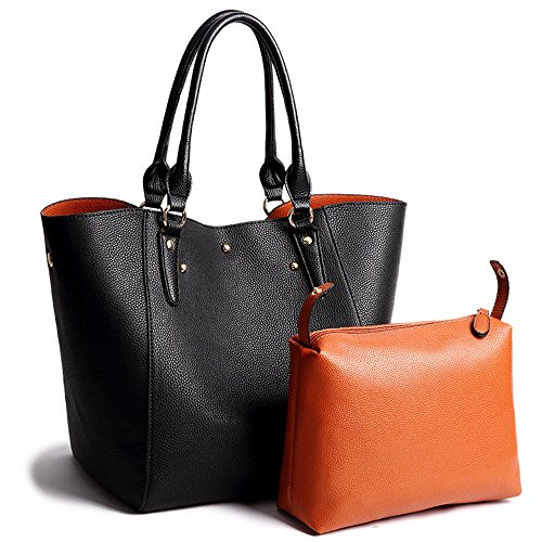 Women Faux Leather Handbags Bucket Satchel and Purse Vintage 2 Pcs Shoulder Bag and Removable Small Bags - Less Sunglasses Name Brand For