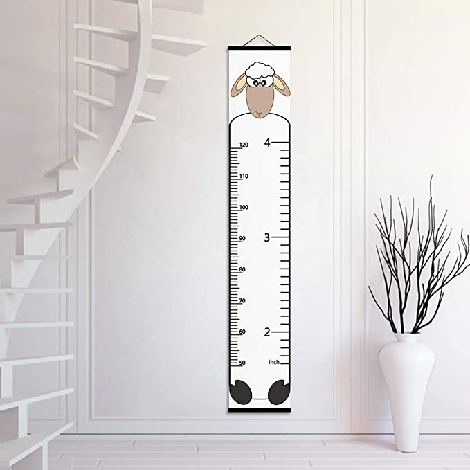 ASENART Growth Ruler for Wall Height Chart Wall Art Tropical Plant Leaves Waterproof Hanging Measure Ruler for Kids Child Bedroom Nursery Wall Decor Removable