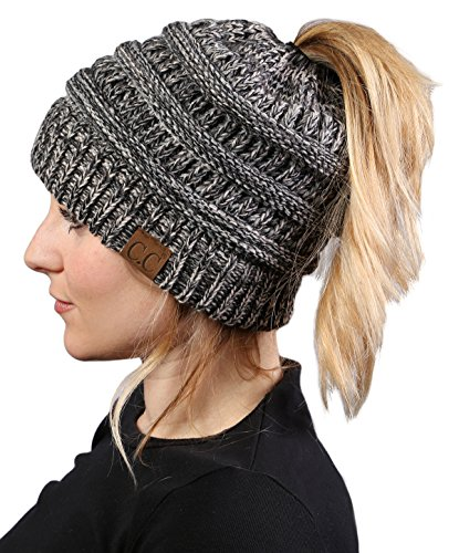 Funky Junque BeanieTail Womens Ponytail Knit Beanie Hat - Grey (Large Image)